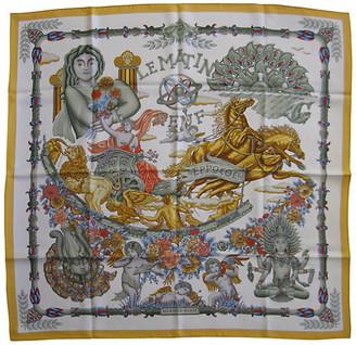 One Kings Lane Vintage Hermes Le Matin Neuf Scarf - The Emporium Ltd. - white/yellow/silver/gold/multi