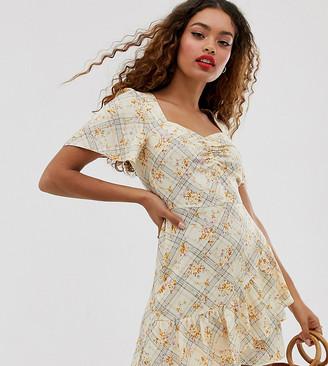 Miss Selfridge Petite ruffle tea dress in floral print-Cream