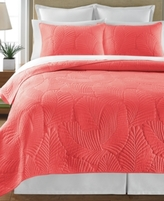 Martha Stewart Collection Collection Cotton Atlantic Palm Coral Twin Quilt