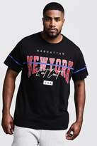 Big & Tall NY Print T-Shirt With MAN Tape