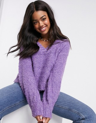 Pieces fluffy jumper with v neck in purple