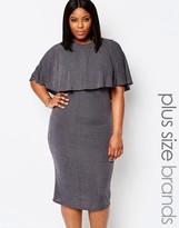 Club L Plus Cape Midi Dress In Glitter Fabric