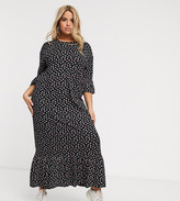 Wednesday's Girl Curve maxi smock dress with peplum hem in ditsy floral
