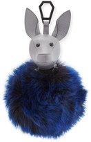 KENDALL + KYLIE Bambi Faux-Fur Dog Charm for Handbag, Cement Gray/Cobalt Blue