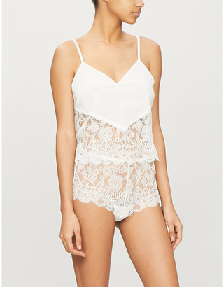Selfridges Sophia floral-lace and stretch-silk camisole