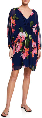 Trina Turk Gentle Floral-Print Long-Sleeve Dress