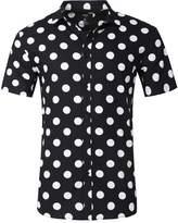 NUTEXROL Men's Polka Dot Print Casual Shirt Long Sleeve Cotton