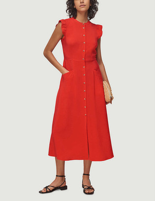 Whistles Button-through woven midi dress