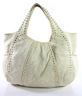 Kooba Ivory Studded Leather Medium Hobo Handbag
