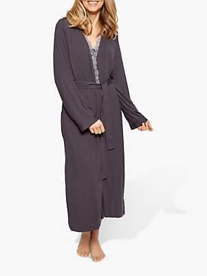 Cyberjammies Nora Rose by Nancy Jersey Lace Trim Dressing Gown, Dark Grey