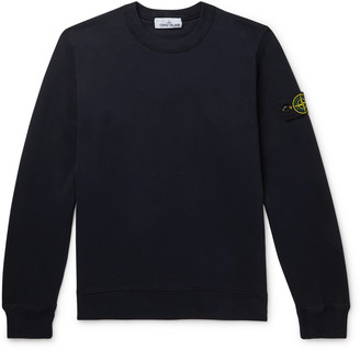 Stone Island Logo-Appliqued Melange Cotton-Jersey Sweatshirt