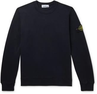 Stone Island Logo-Appliqued Melange Fleece-Back Cotton-Jersey Sweatshirt - Men - Blue
