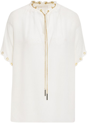 MICHAEL Michael Kors Chain-embellished Washed-silk Top