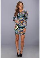 Mara Hoffman Long Sleeve Mini Dress (Suzani Black) - Apparel
