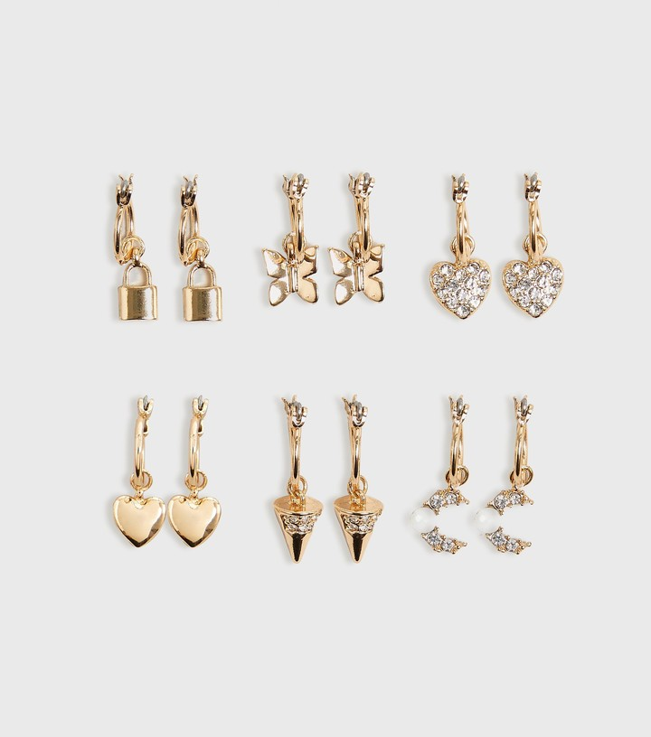 Thumbnail for your product : New Look 6 Pack Mixed Charm Mini Hoop Earrings