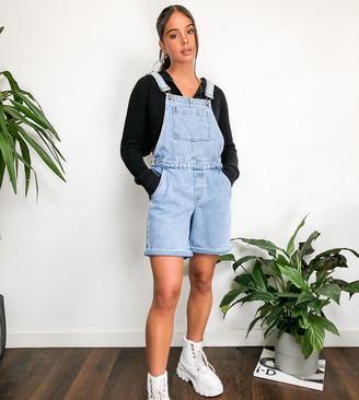 Only dungaree shorts in acid wash blue