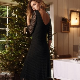 The White Company Jersey Scoop-Back Lace Dress, Black, 16