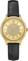 GUESS Women's Madison Black Leather Strap Watch 37mm U0840L1