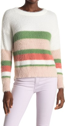 ALL IN FAVOR Striped Fuzzy Knit Sweater