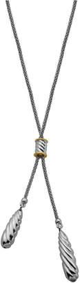Double Teardrop Lariat Necklace in Sterling Silver