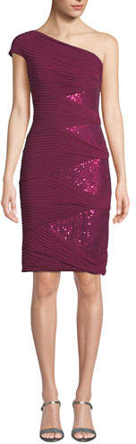 Tadashi Shoji One-Shoulder Jersey Pintuck Dress w/ Sequins