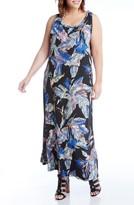 Karen Kane Plus Size Women's Leaf Print Jersey Maxi Tank Dress