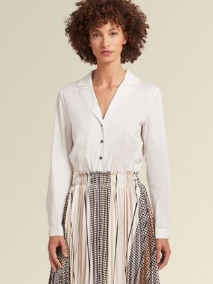 DKNY Donna Karan Women's Shirtdress With Pleated Skirt - Black Combo - Size S