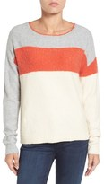 Caslon Back Button Stripe Sweater (Regular & Petite)