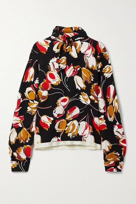 Marni - Tie-neck Satin-trimmed Floral-print Crepe Blouse - Black