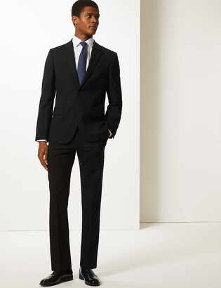 Marks and Spencer Big & Tall Black Textured Slim Fit Jacket