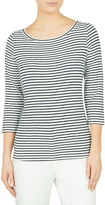 David Lawrence 3/4 Sleeve Boatneck Stripe Tee