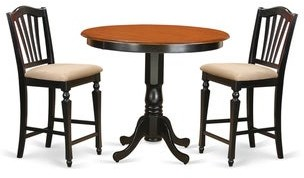 East West Furniture Black Solid Wood 3-piece Counter Height Pub Set
