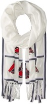Tory Burch Sailboat Embroidered Oblong Scarves