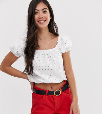 New Look Petite broderie square neck top in white