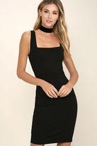 LuLu*s Square Cute Black Bodycon Dress
