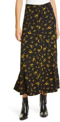 Ganni Print Front Button Midi Skirt