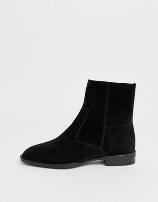 Asos Design DESIGN Alfie suede sock boots in black