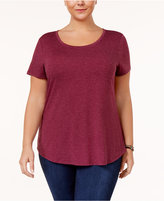 Style&Co. Style & Co Plus Size T-Shirt with Fringe Scarf, Created for Macy's