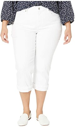 NYDJ Plus Size Plus Size Marilyn Crop with Frayed Cuffs in Optic White (Optic White) Women's Jeans
