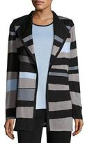 Misook Solid Borders Striped Long-Sleeve Jacket