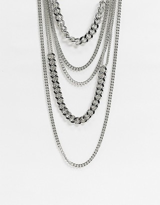 ASOS DESIGN multirow necklace in layered curb chains in silver tone