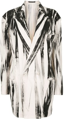 Y's Abstract-Print Double-Breasted Blazer