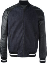 Emporio Armani contrast zip up bomber jacket - men - Cotton/Lamb Skin/Polyester/Spandex/Elastane - M