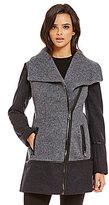 GUESS Asymmetrical Colorblock Wool Melton Jacket