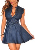 SixLover Women's Sexy Denim Belted Skater Dress