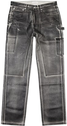 Helmut Lang Grey distressed coated straight-leg jeans
