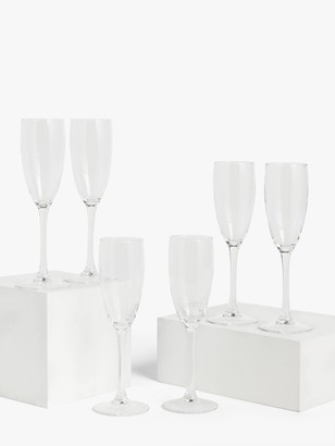 House by John Lewis Champagne Flutes, Set of 6, 170ml