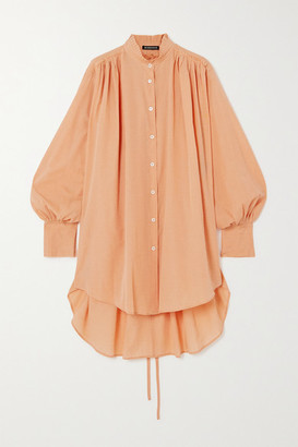 Ann Demeulemeester Belted Gathered Cotton And Cashmere-blend Shirt - Peach