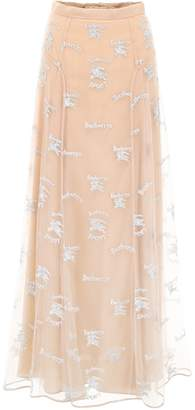 Burberry Equestrian Knight Tulle Maxi Skirt