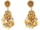 Dolce & Gabbana Crystal & Floral Chandelier Earrings